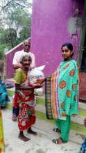 Neglected elder receiving food groceries