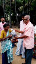 Lonely elder receive food groceries