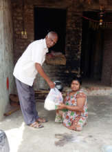 Polio attacked disable receiving food groceries