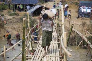 Makeshift bridge in Cox's Bazar