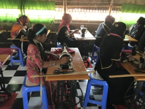 Women are gaining a livelihood with sewing skills.