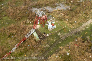 Destroyed telecommunications tower