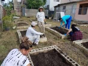 Volunteers at Hacienda Buena Vista's garden