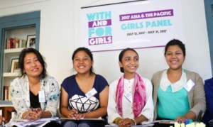 The girl panellists prepare for the day ahead.