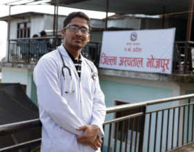 Dr. Pujan outside the Bhojpur operating room