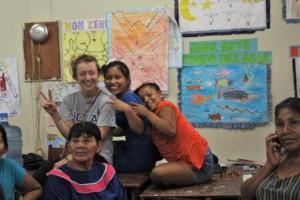 Girls and our volunteer Inga