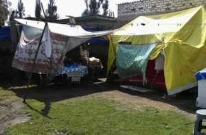 Most temp housing is made of tarps or tin