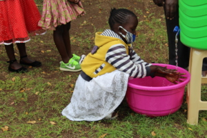 Students learning about handwashing