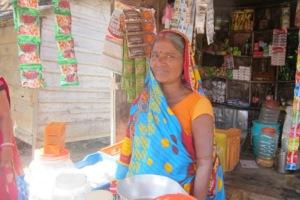 Kausalya in-front of her shop