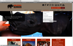 Home page of Helping Rhinos