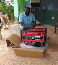 James at New Life with the new power generator