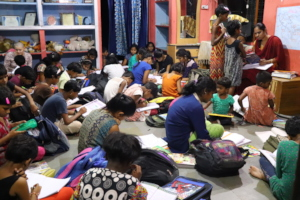Home work time :CHH Hall crowded with the Children
