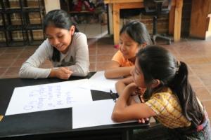 Hadasa, Lidia and Dolores enjoy their time reading