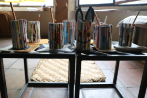 The final result of our recycled pen holders!