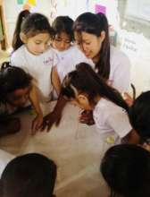 Junita with the students