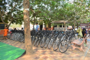 Bicycles waiting to be distributed