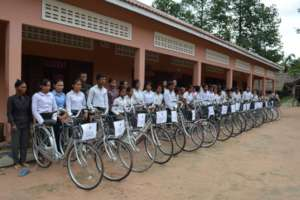 Students With Their Bicycles During Delivery