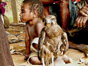 A boy and a bird of prey relax together