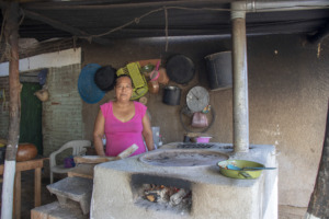 A proud new stove owner in Pinotepa Nacional