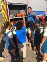 Firemen visited the community's elementary school