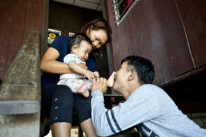 Foster parents and child