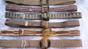 Card woven belts with silk trim