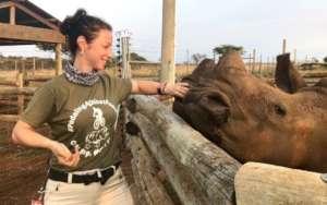 Dr. Laite with 2 Zululand Rhino Orphanage calves