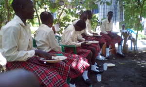 Girls taking meal at their Institute