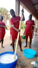 Girls practically learn how to make liquid soap