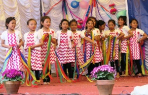 Hope girls presenting cultural dance in school
