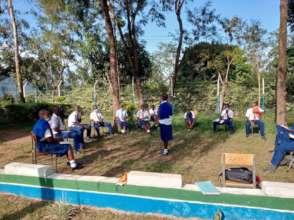 Students at peace corner.