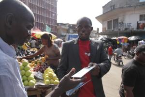 Arthur distributing ebola public health messaging