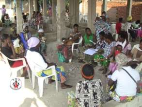 Self-help group meeting in the new building.