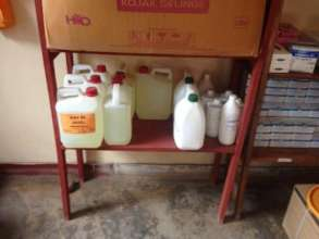 Disinfectants and masks in stock.