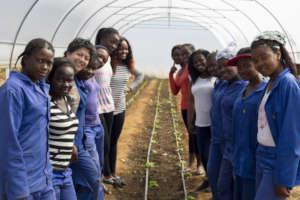 Girls with executive director, Tanya