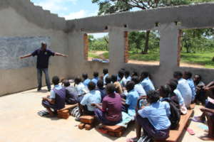 Class in the unfinished building