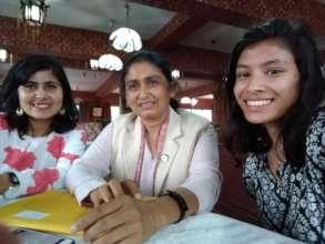 Simran with politician Binda Pandey