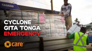 CARE tarpaulins will provide emergency shelter.