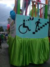 A float in the Jacmel carnival raises awareness.