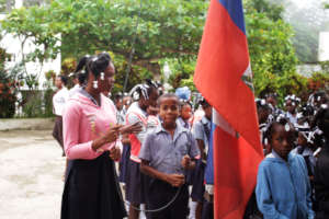 Students at a Jacmel school using Power To Girls.