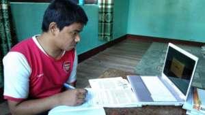 Children at NMCHC attending online class