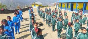 School children with some aid