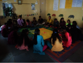 Girls participating in an FGD with LP Participants