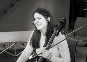 Cellist Carina Drury in rehearsal