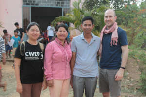 Koy Thea with Sokra and CWEF team members