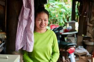 Leakhana at home with her new water filter