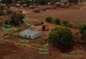 A birdey view of the school in 2019