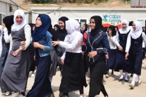 Schoolgirls during recess