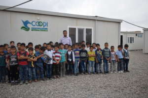 Temporary school with kids