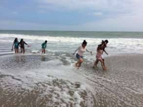 Children seeing the beach for the first time!